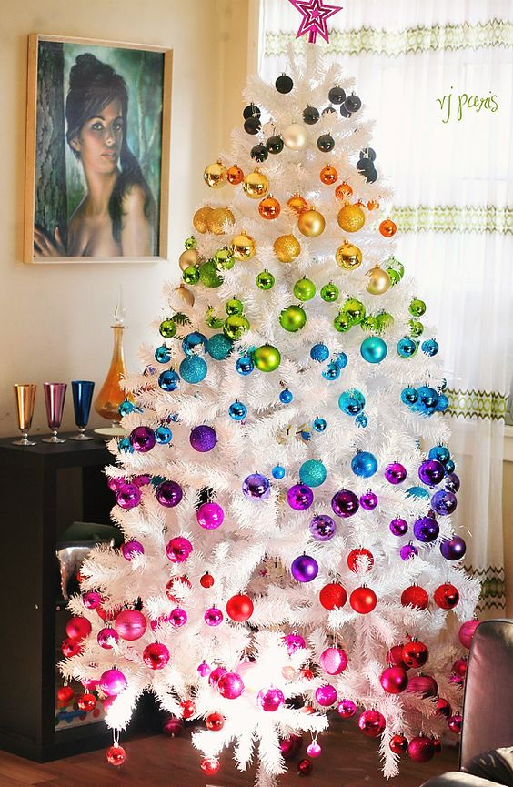be bold this Christmas with a super colorful rainbow tree