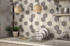 07 chic mosaic honeycomb backsplash in grey shades and ivory