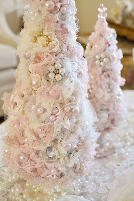 tabletop tulle Christmas trees with pearls and beads