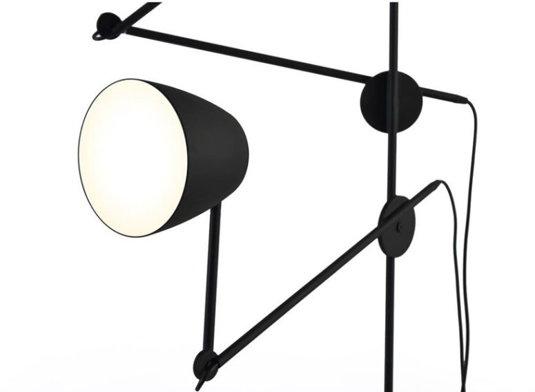 The movement of the lamps at the lighting fixtures imitates that of a black swan tilting its head