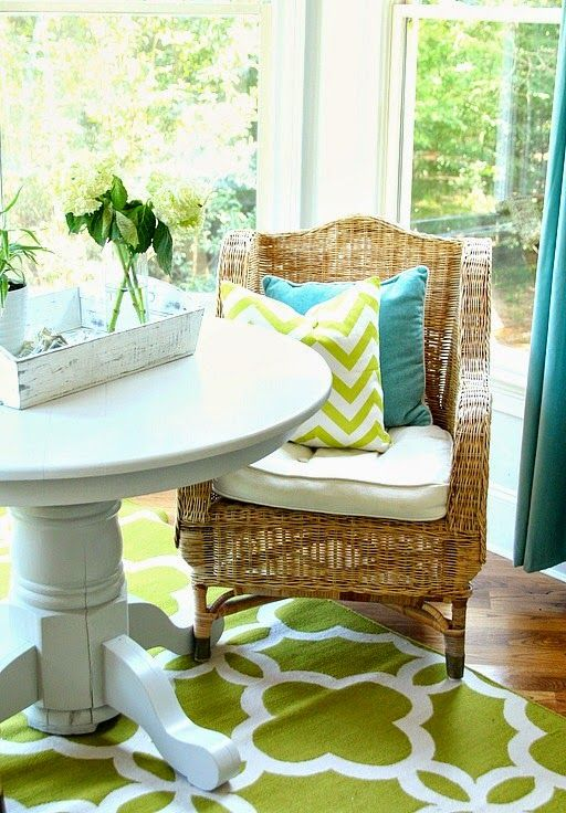 a chevron pillow and a patterned rug can easily bring a trendy flavor to your home