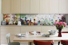 08 colorful mosaic hexagon tile backsplash to spruce up neutral cabinets