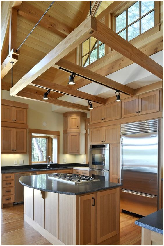 32 cool and functional track lighting ideas digsdigs put track lighting on beams over your kitchen if there are any aloadofball Gallery