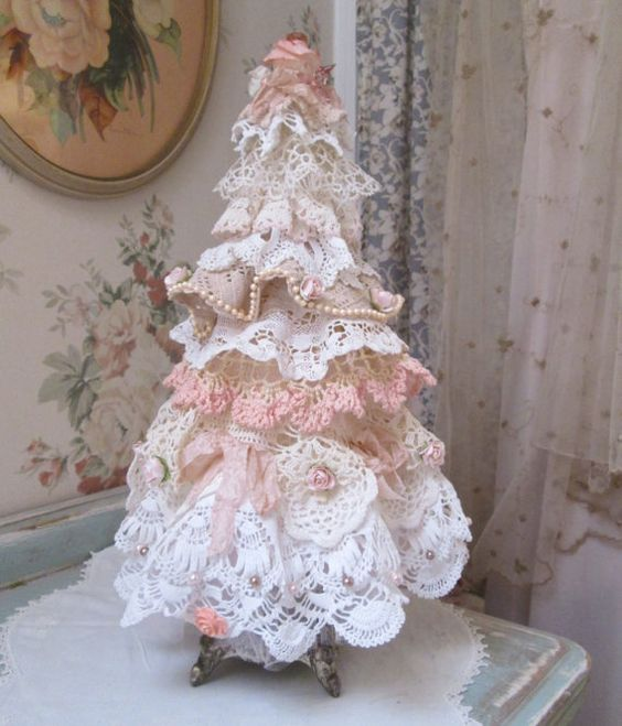 tabletop shabby chic lace Christmas tree