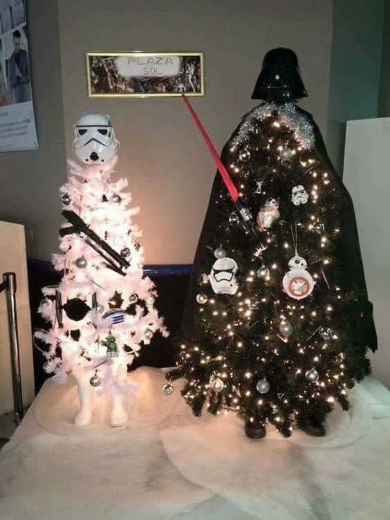 Darth Vader and a Storm Trooper Christmas trees