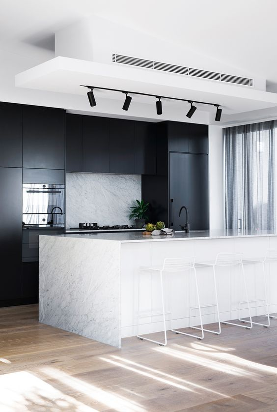 minimalist black and white kitchen with track lights : white track lights - azcodes.com