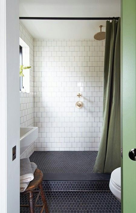 Navy Hex Tiles On The Shower And Bathroom Floor Part 39