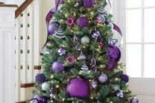 09 purple Christmas tree with oversized glitter ornaments and smaller ones