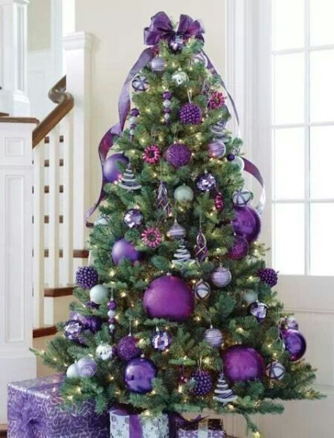 purple christmas tree with oversized glitter ornaments and smaller ones - Large Christmas Tree Ornaments