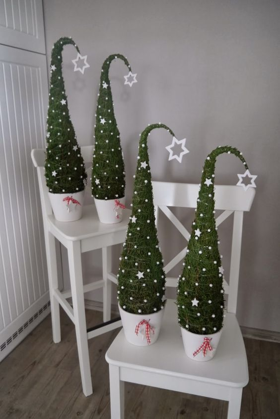 tabletop trees reminding of elf hats
