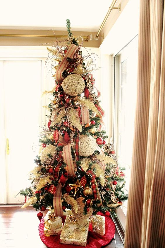 christmas tree with plaid decor and oversized textural ornaments - Large Christmas Tree Ornaments