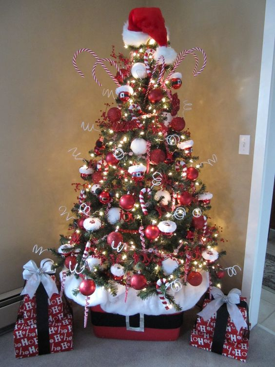 Santa Claus Christmas Tree With A Hat And A Belt Cover