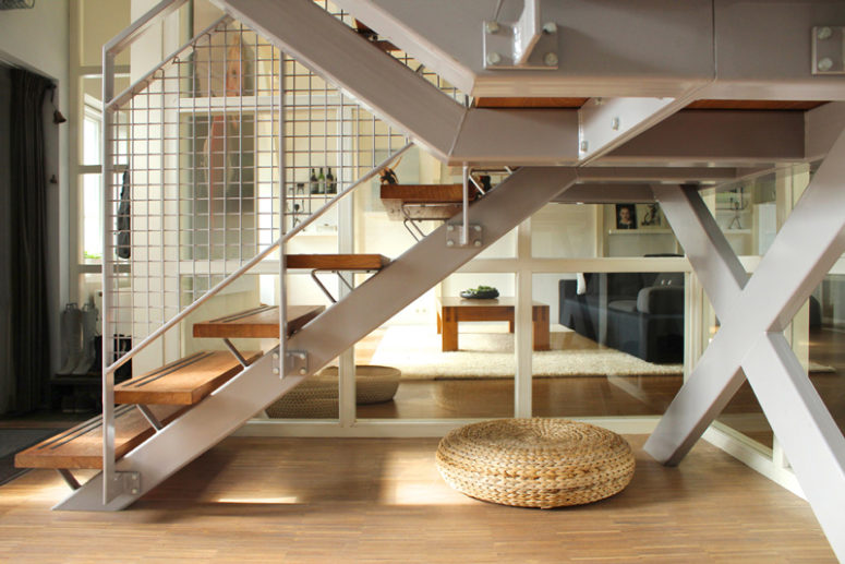 This is an industrial staircase left from the factory and renovated