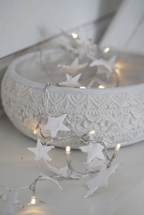 chic white bowl with star string lights