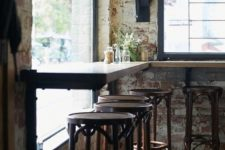 10 industrial shabby decor with rusty brick clad and wooden furniture