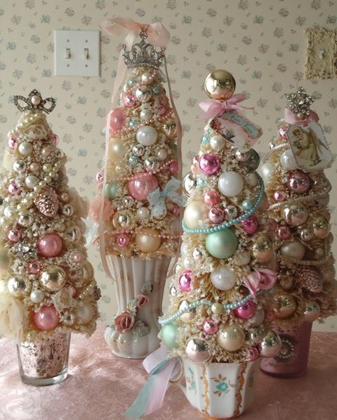 metallic and pink jewelry Christmas tree composition