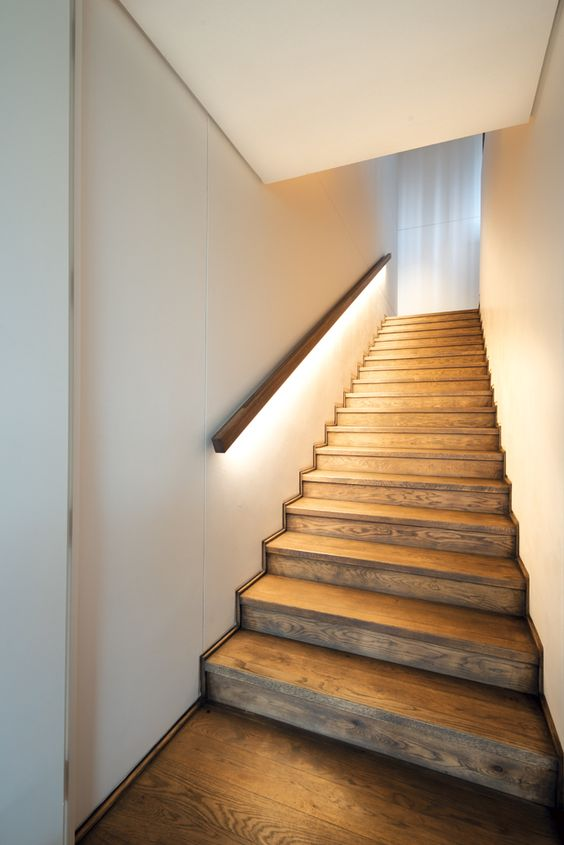 Charming LED Lighting Under The Handrail Gives Off A Soft Light