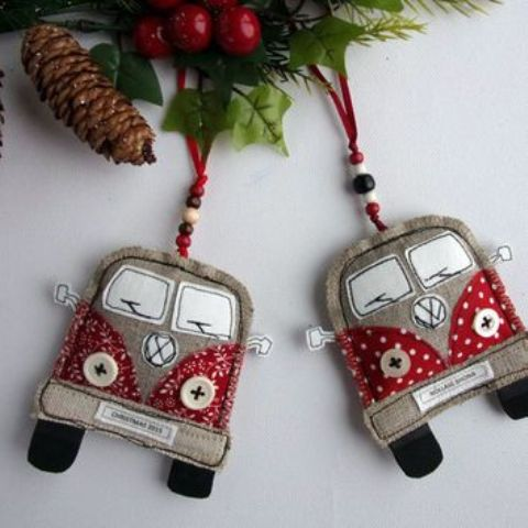VW van Christmas ornaments of fabric