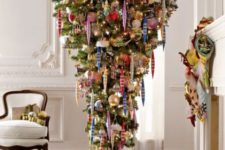 11 an upside down tree and colorful vintage ornaments