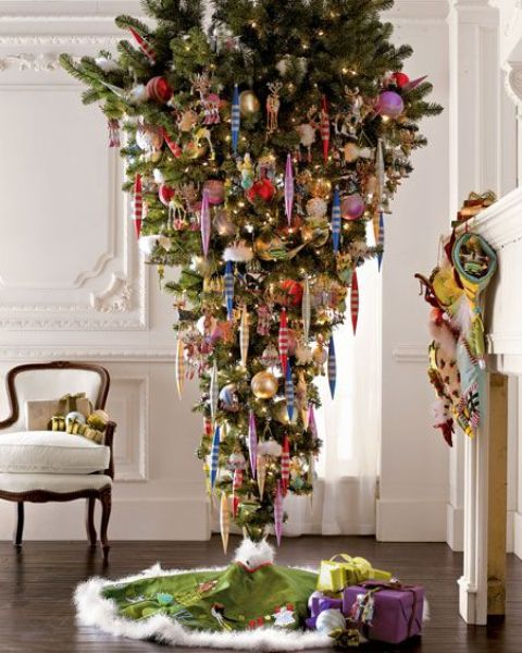 an upside down tree and colorful vintage ornaments