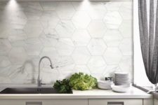 11 large marble hex tiles for a modern kitchen