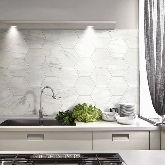 Large Marble Hex Tiles For A Modern Kitchen