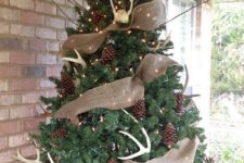12 a large tree with pinecones, lightsm antlers and burlap deco mesh