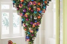 12 an upside down tree with colorful glossy ornaments