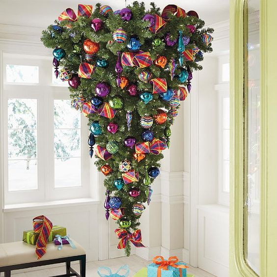 an upside down tree with colorful glossy ornaments