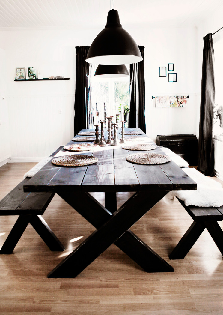 rustic dining area with dark-stained furniture