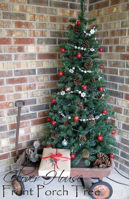 decorating garland door porch front and simple for light diy outdoor christmas trees ideas