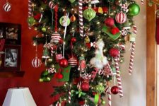 13 red, green and white upside down Christmas tree