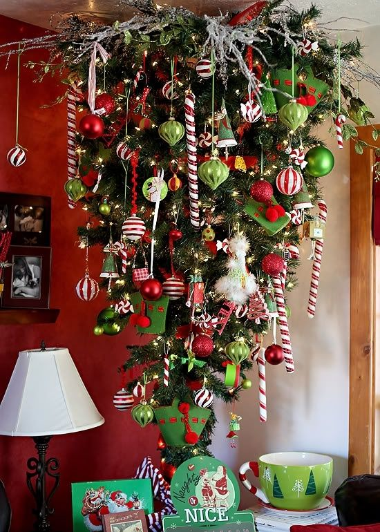 red, green and white upside down Christmas tree