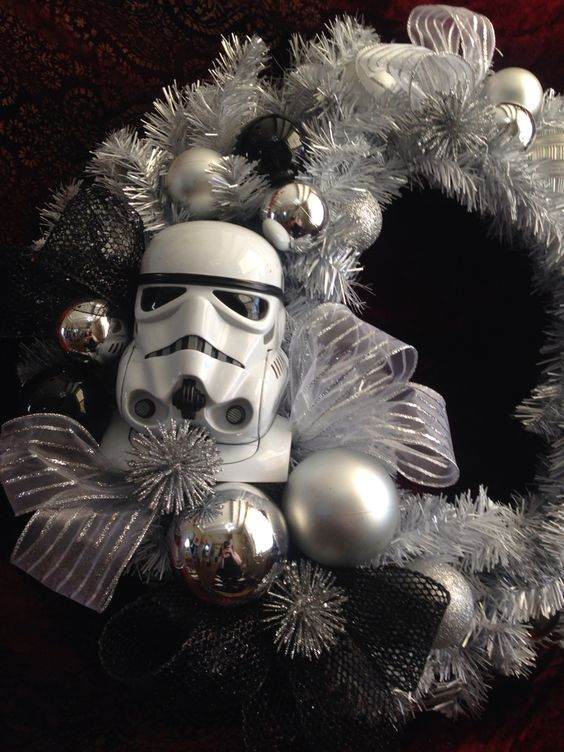 silver and black Storm Trooper wreath