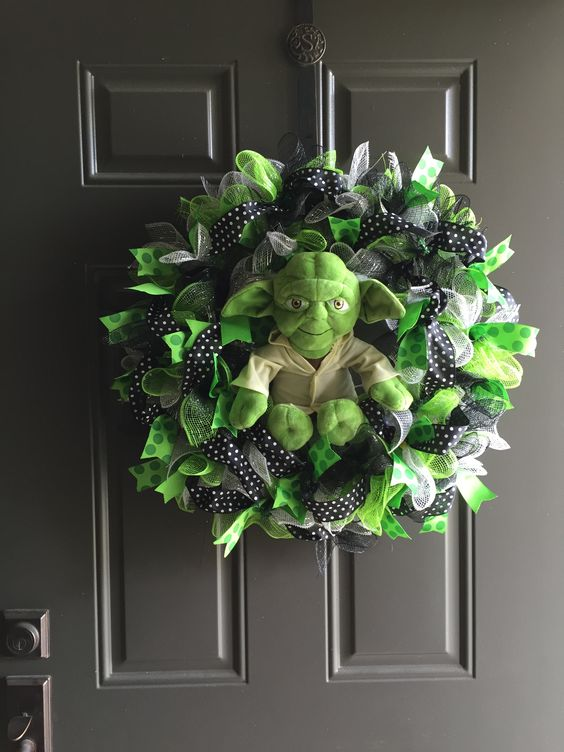 Star Wars Yoda wreath of colorful deco mesh