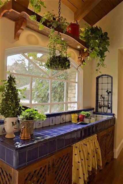 beautiful blue tiles on the kitchen island
