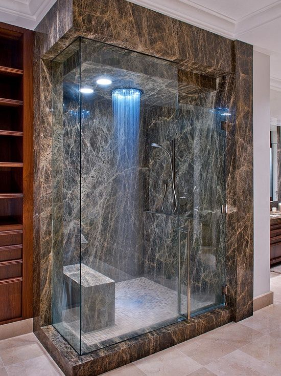 modern dark marble shower and a bench to enjoy the steam 32 Walk In Shower Designs That You Will Love  DigsDigs