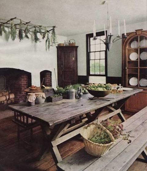 rustic-styled home with a farm rough wooden table and benches