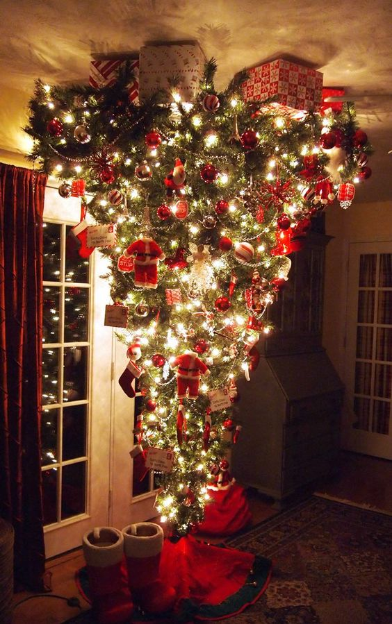 traditional decor for an upside down Christmas tree