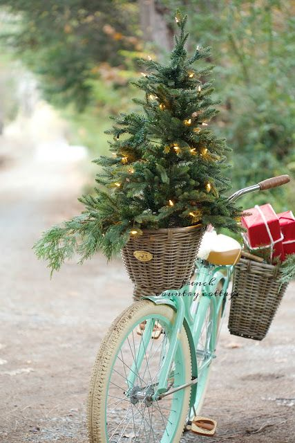 a small tree with lights in a basket of a mint-colored bike has a wow factor
