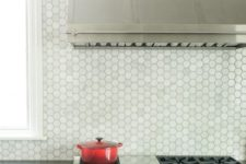15 marble hex tile backsplash looks cool with stainless steel surfaces