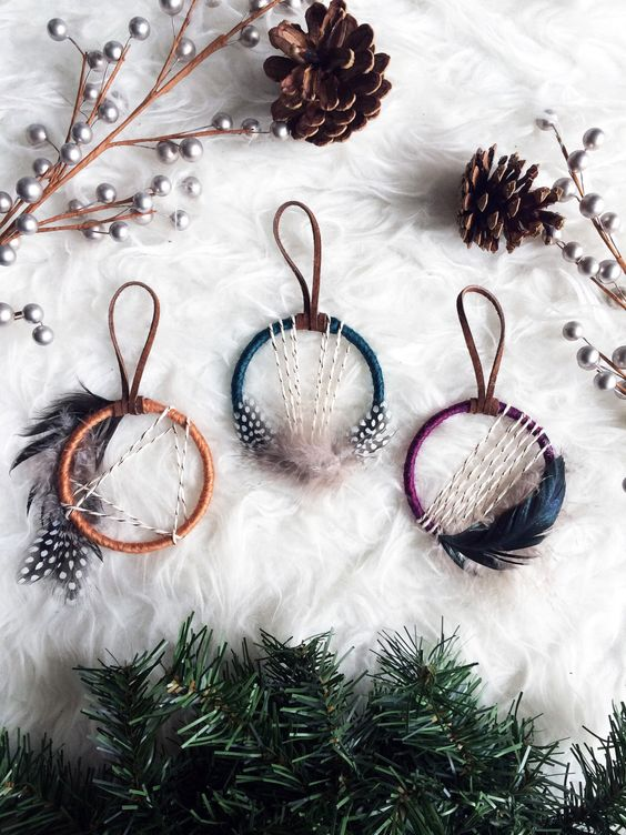 mini dream catcher ornaments with feathers