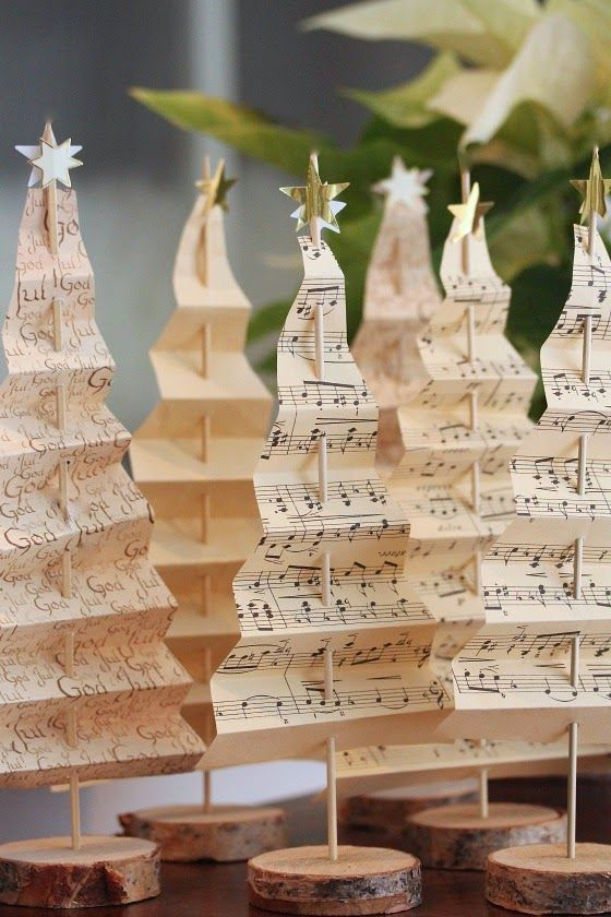 music sheet Christmas trees on wood slices
