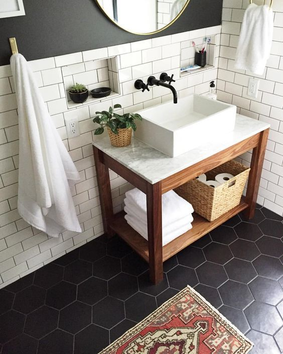 white tiles on the walls and black hexagon tiles on the floor for a contrast. 39 Stylish Hexagon Tiles Ideas For Bathrooms   DigsDigs