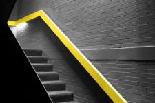 16 modern neon yellow handrail to contrast with the dark space