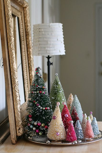 Vintage Bottle Brush Christmas Trees