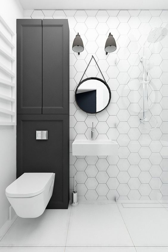 Large Bathroom Tiles On The Wall 39 stylish hexagon tiles ideas for bathrooms - digsdigs