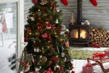 17 Scandi flavor Christmas tree with whimsy ornaments