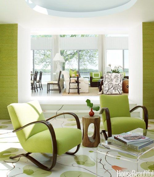 cool upholstered lime gren chairs and walls
