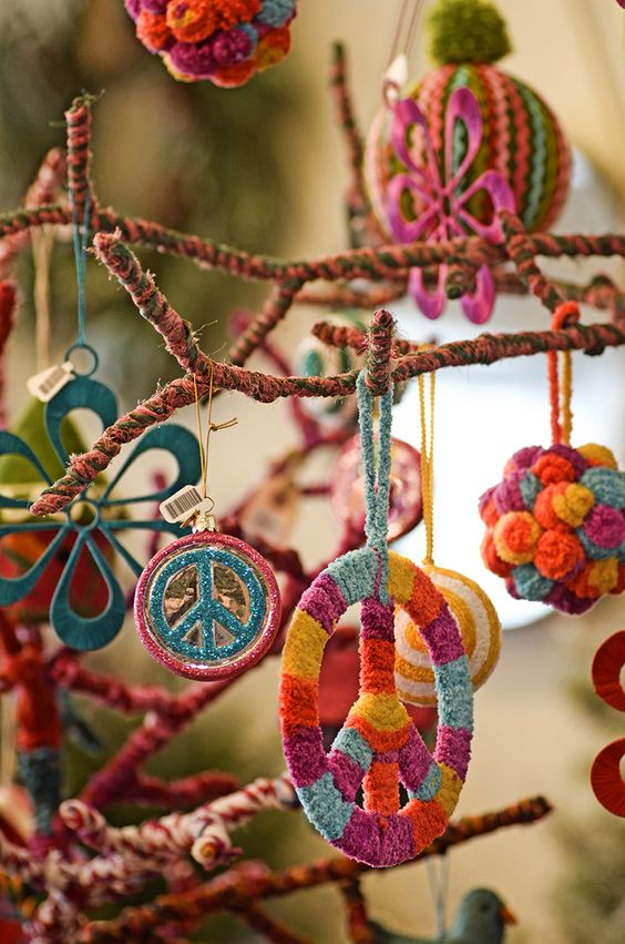 hippie-styled yarn Christmas ornaments